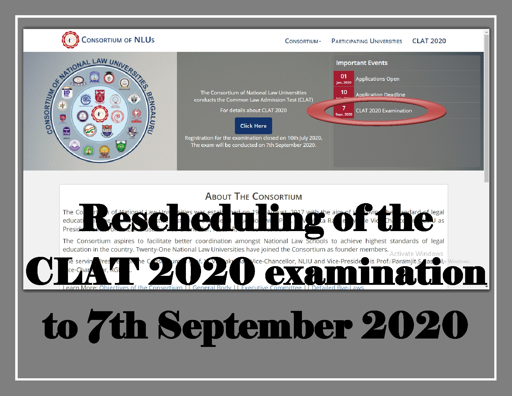 Rescheduling of the CLAT 2020 examination to 7th September 2020