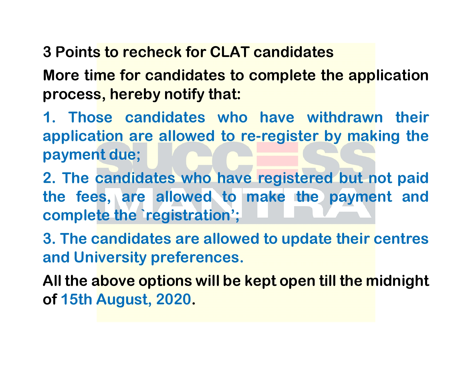 3 Points to recheck for CLAT candidates before 15th August 2020, Success Mantra GTB Nagar Coaching Institute For CLAT AILET DU LLB LAW