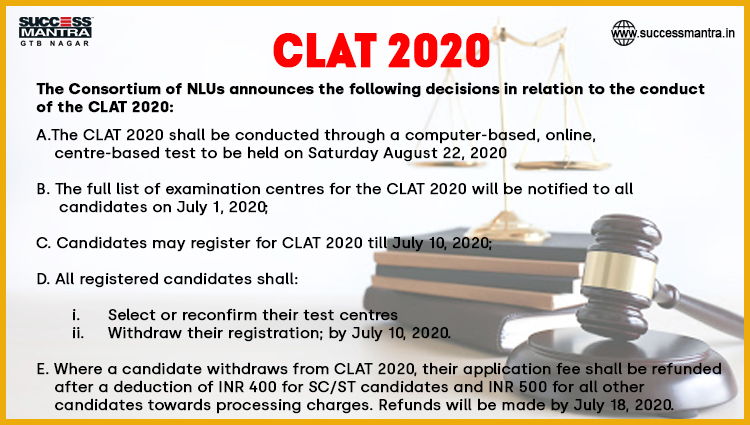 CONSORTIUM OF NATIONAL LAW UNIVERSITIES COMMON LAW ADMISSION TEST (CLAT) 2020 NOTIFICATION